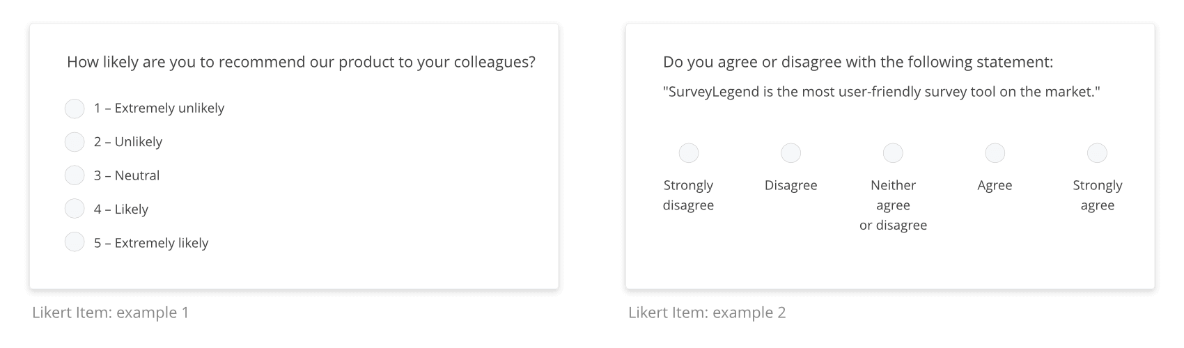 These are examples of Likert Items. Likert Items could look visually different.
