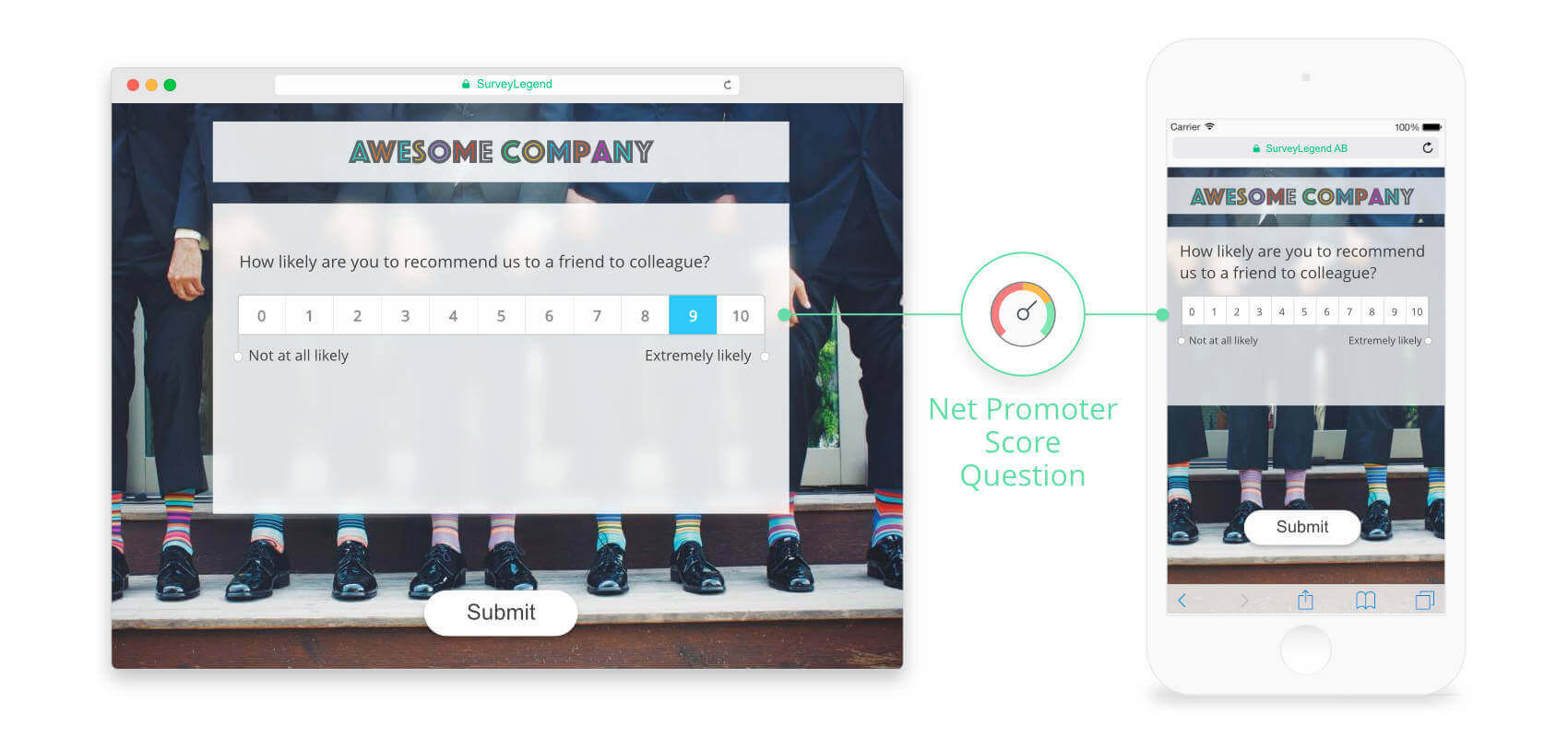 Our Net Promoter Score question is designed to work perfectly on mobile devices.