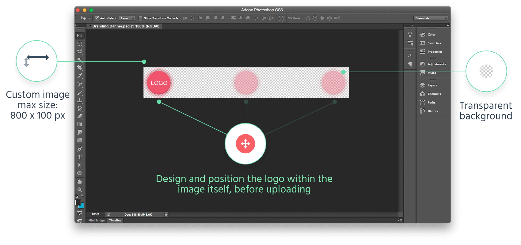 Make an image which is at least 670px wide, and maximum 100px high. Then align your logo inside it. You can also export your image with a transparent background to get nice visual effects in your questionnaire.